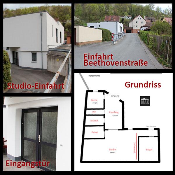 Studio-Einfahrt - Eingangstür - Grundriss vom Studio